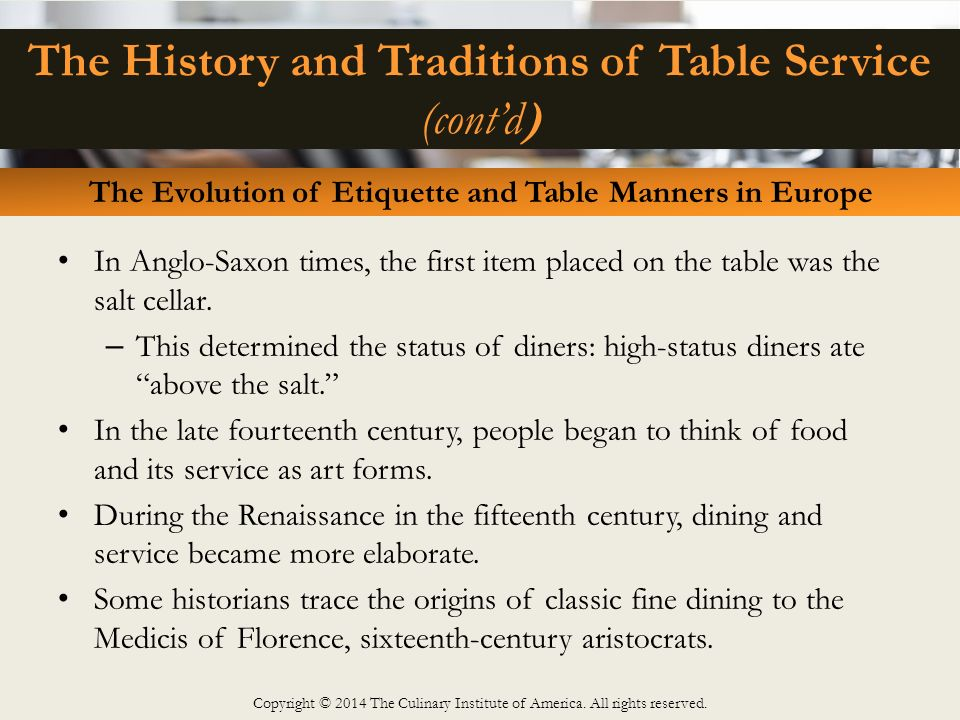 fine dining proper table service. the history and traditions of table service (cont\u0027d) fine dining proper -