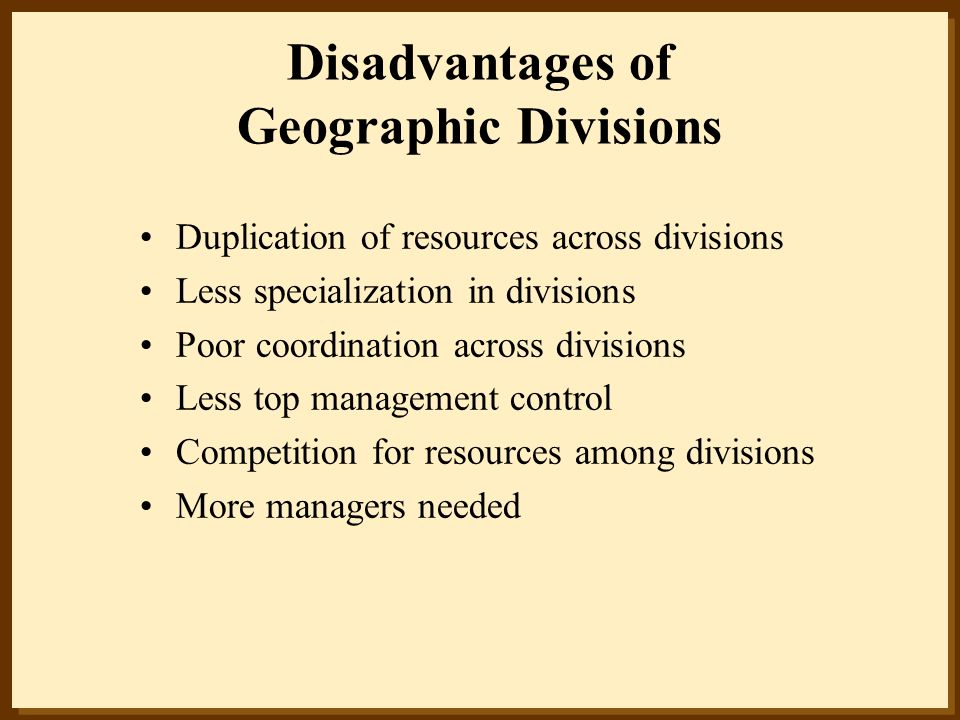 Disadvantages of Geographic Divisions