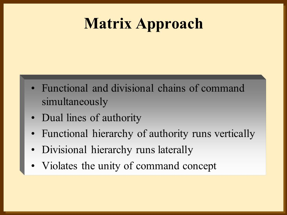 Matrix Approach Functional and divisional chains of command simultaneously. Dual lines of authority.