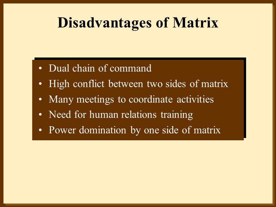Disadvantages of Matrix