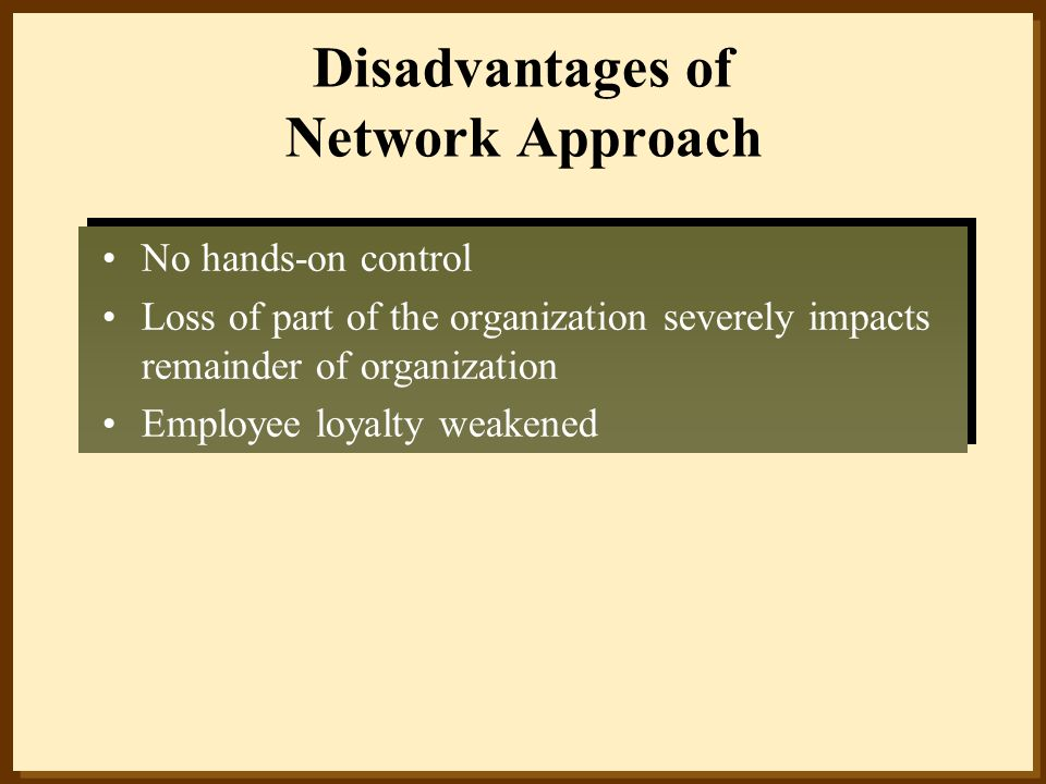 Disadvantages of Network Approach