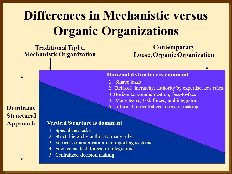 Differences in Mechanistic versus Organic Organizations