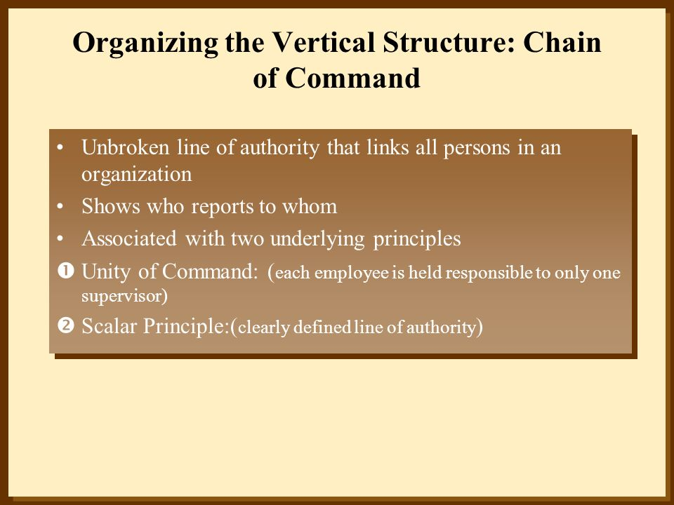 Organizing the Vertical Structure: Chain of Command