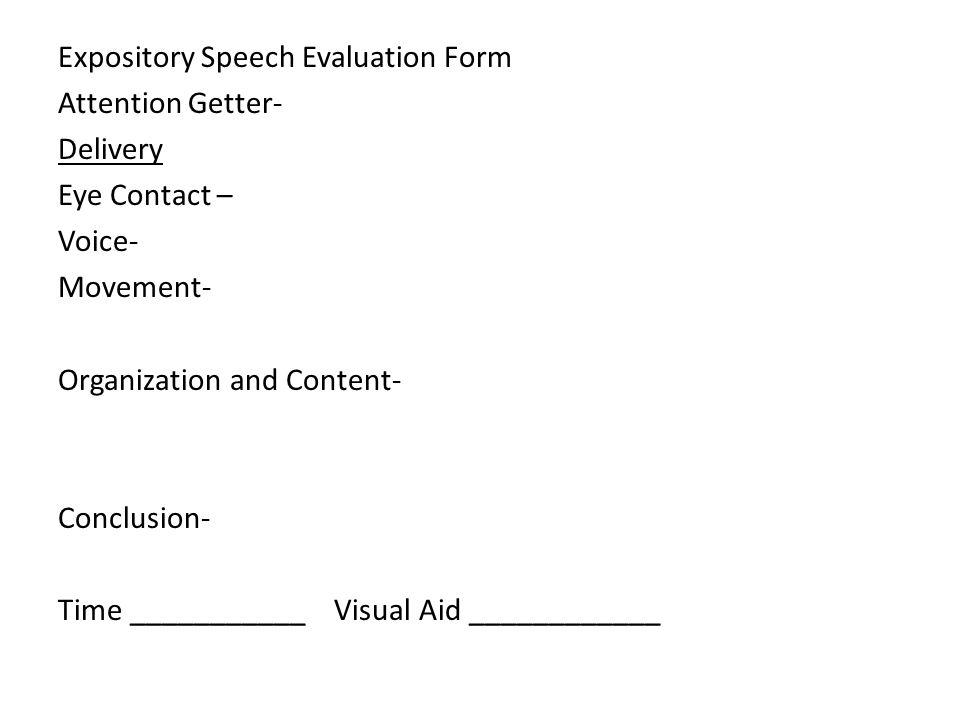 Speech Evaluation Essay