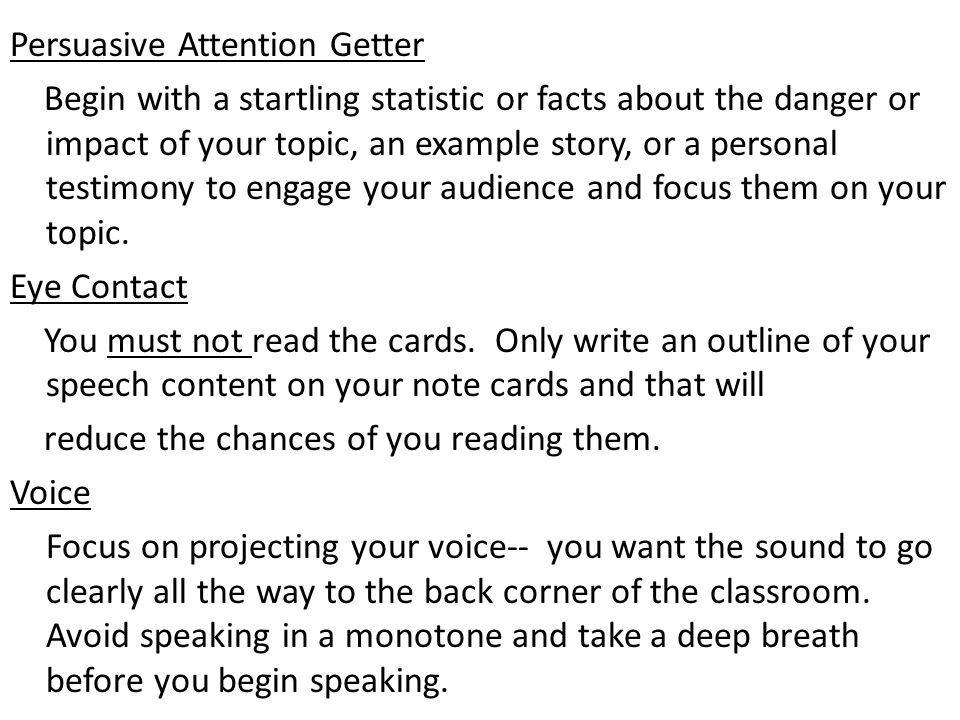 attention getter for persuasive speech on exercise Persuasive speech steps of introduction  tie to attention-getter  or prohibiting the free exercise thereof or abridging the freedom of speech, or of the.