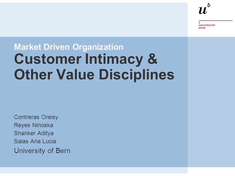 Market Driven Organization Customer Intimacy & Other Value Disciplines