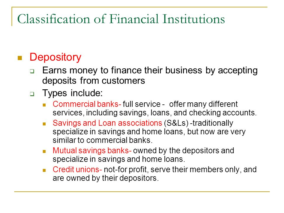 What are the 9 major financial institutions?