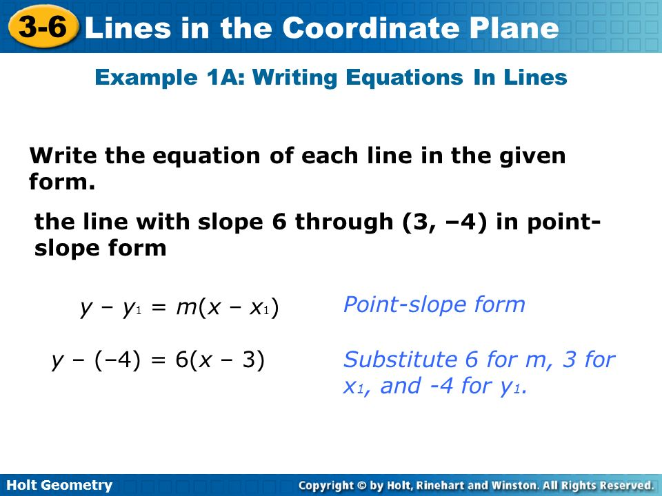 write an equation for each line Find the equation (in point-slope form) for the line shown to write the equation, we just count the number of lines on the graph paper going in each.