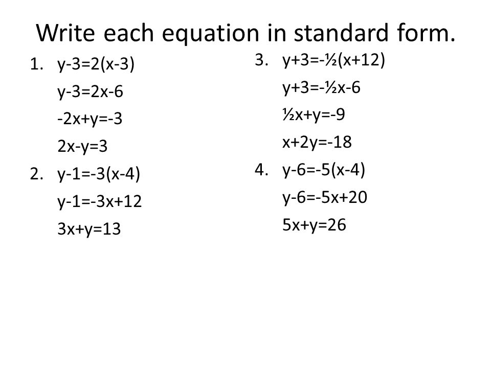 Write Each Equation In Standard Form Dolapgnetband