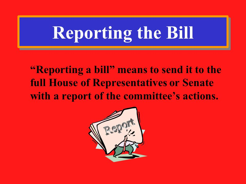 Reporting the Bill Report