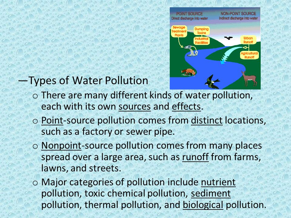 the different types of pollution Six types of environmental pollution include land pollution, water pollution, air pollution, thermal pollution, light pollution and noise pollution these forms of pollution affect the environment in different ways and with different levels of severity land pollution includes any type of waste left.