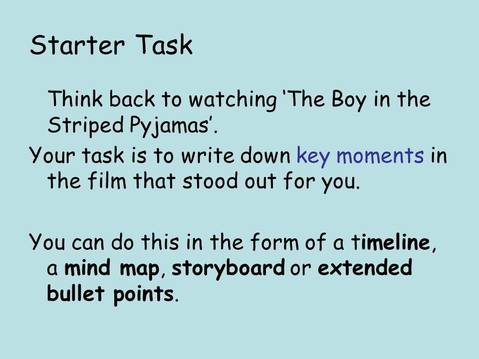 starter task think back to watching the boy in the striped  starter task think back to watching the boy in the striped pyjamas