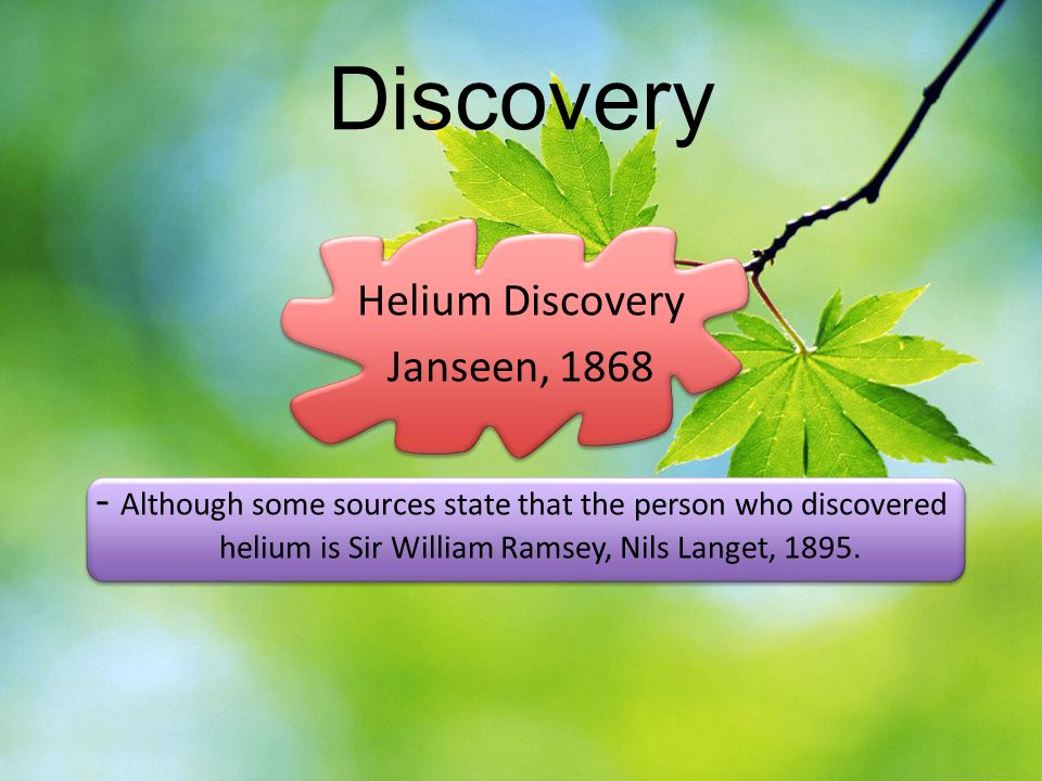 an overview of the discovery of helium For example in the helium atom-wikipedia one sees various approximations, which lead to complications such as the hartree-fock method, the thomas-fermi method, and the variational method under this crisis of atomic physics we took into account the peripheral velocity uc of the discovery of the electron spin and applied carefully the.