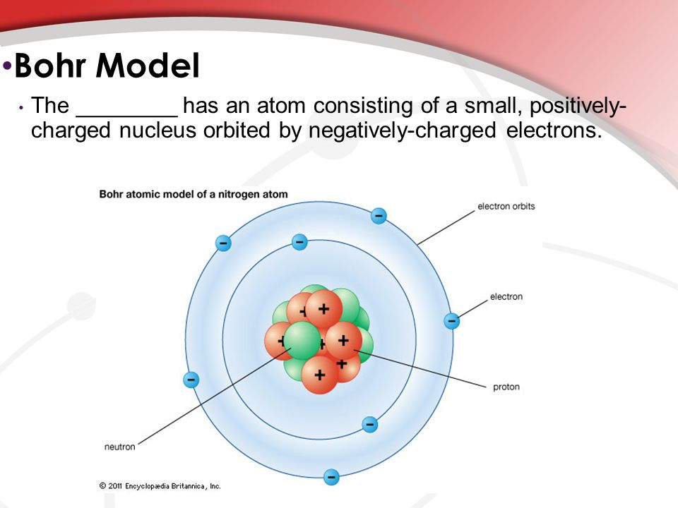 Energy levels and bohr model ppt download 6 bohr model the has an atom consisting of a small positively charged nucleus orbited by negatively charged electrons publicscrutiny Gallery