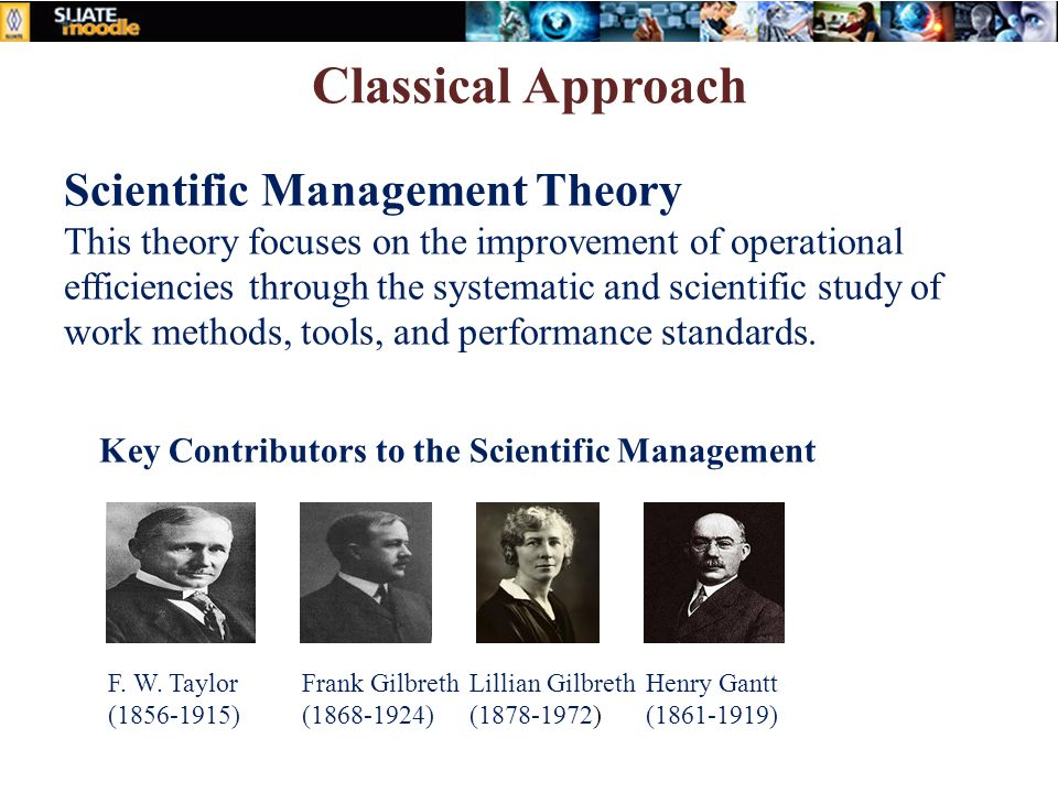 classical approach to management scientific principles The so-called classical management theories emerged around the start  scientific management theory  chose to use the new principles of scientific management.