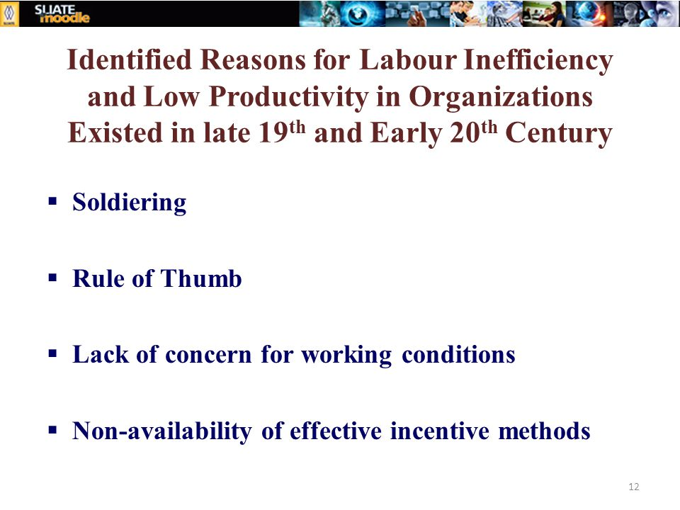 Identified Reasons for Labour Inefficiency and Low Productivity in Organizations Existed in late 19th and Early 20th Century