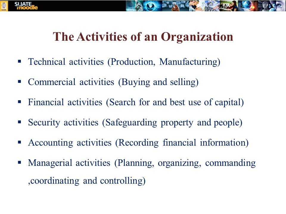 The Activities of an Organization