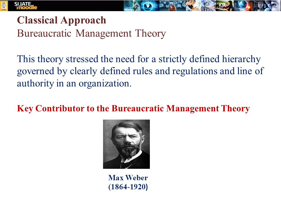 organization management theory Classical organization theory includes the scientific management approach, weber's bureaucratic approach, and administrative theory the scientific management approach is based on the concept of planning of work to achieve efficiency, standardization, specialization and simplification.