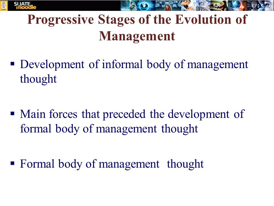 Progressive Stages of the Evolution of Management