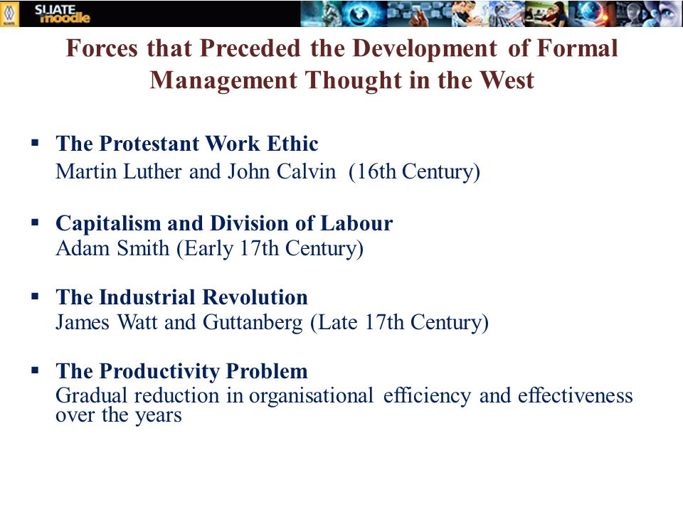 Forces that Preceded the Development of Formal Management Thought in the West