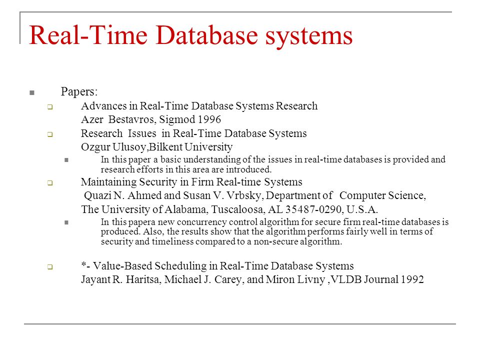 real time systems research papers The journal real-time systems publishes papers, short papers and correspondence articles that concentrate on real-time computing principles and applications the.
