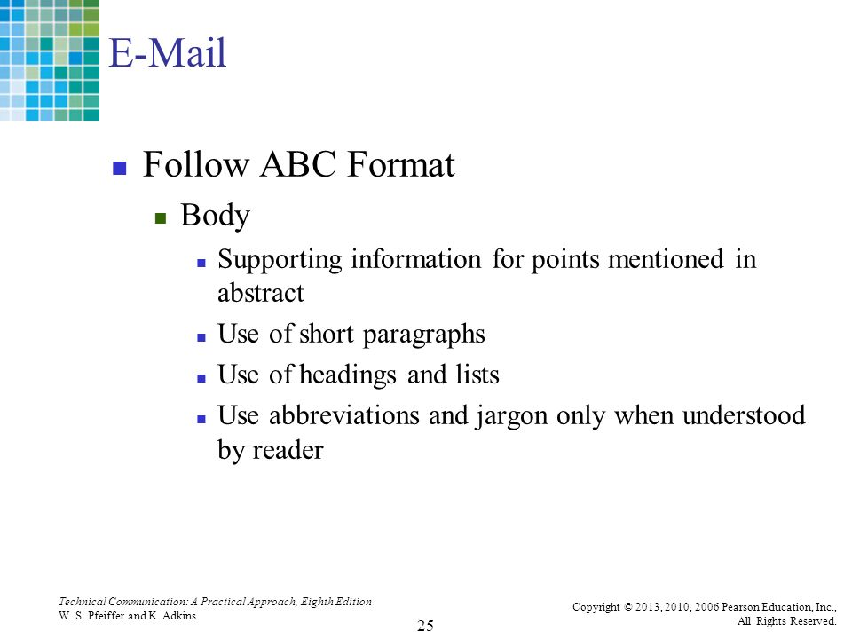 abc format of technical writing 1:the abc format stands for answer a:the abc (abstract, body, and conclusion) format can be used when writing a first draft of some document types 2parallelism in a list refers to answer c: keeping all points grammatically the same 3graphics rec.