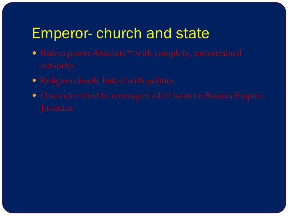 Emperor- church and state
