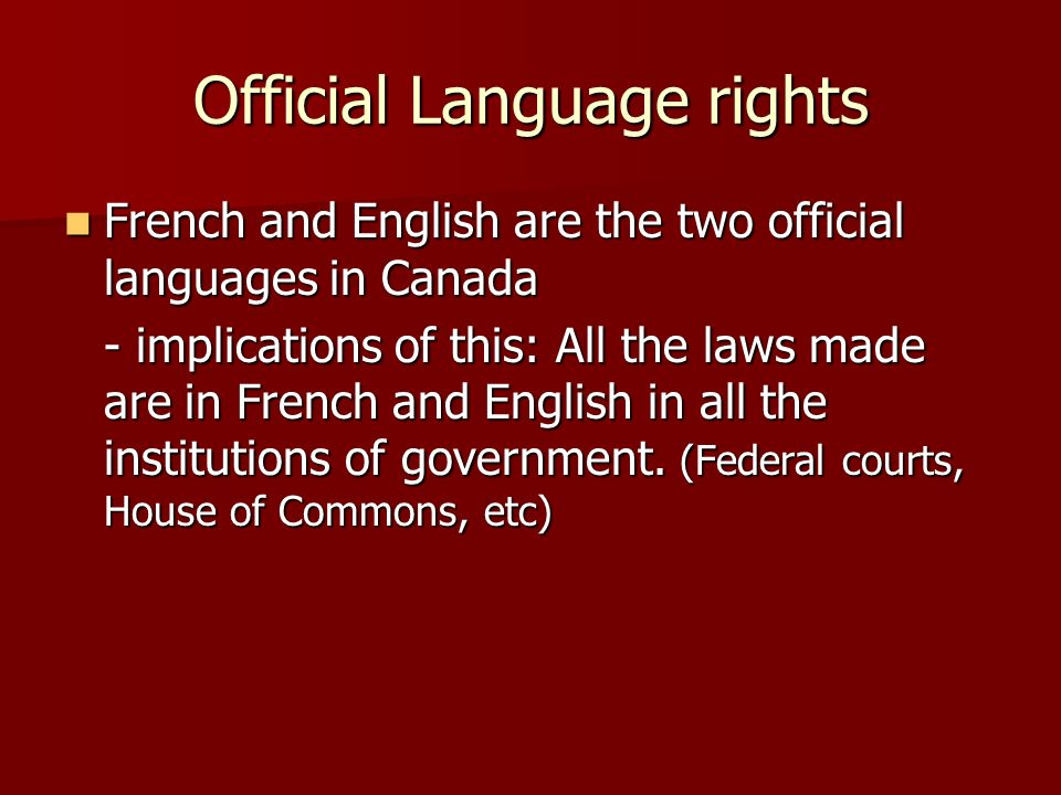 Official Language rights