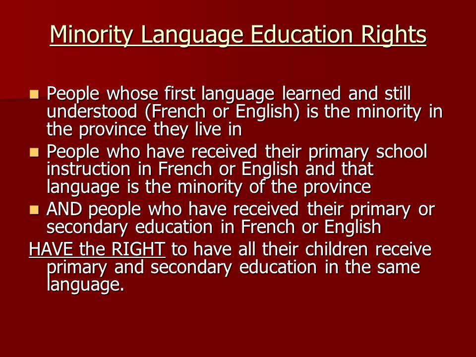 Minority Language Education Rights