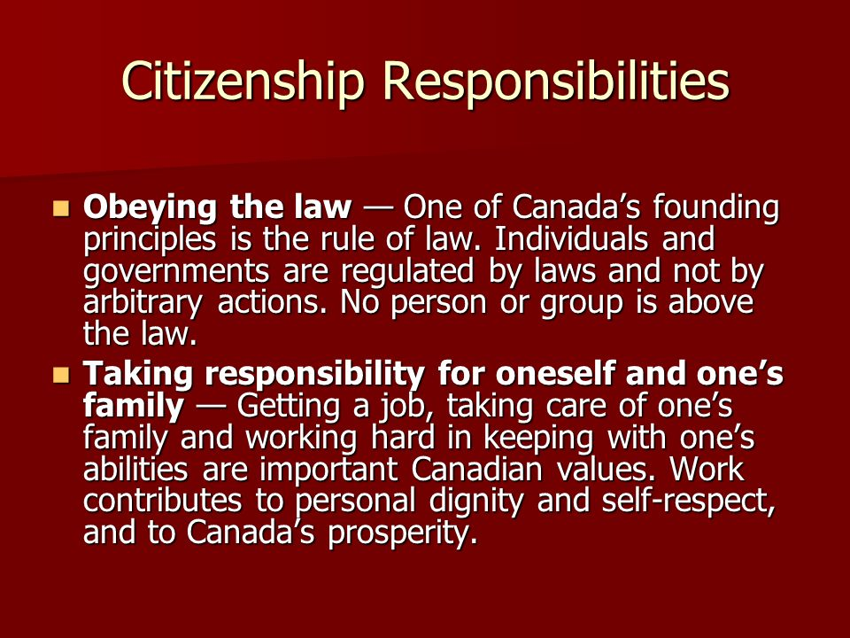 Citizenship Responsibilities