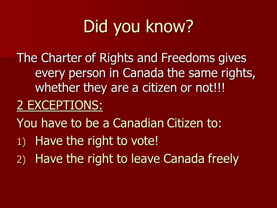 Did you know The Charter of Rights and Freedoms gives every person in Canada the same rights, whether they are a citizen or not!!!