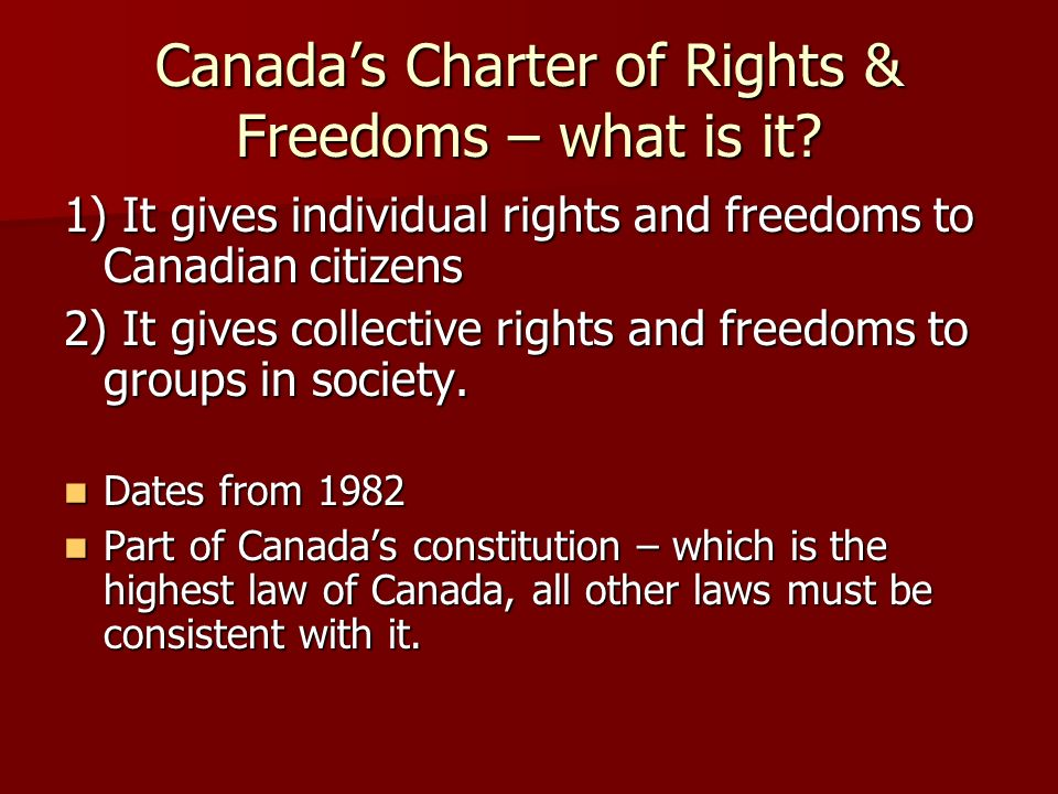 Canada's Charter of Rights & Freedoms – what is it