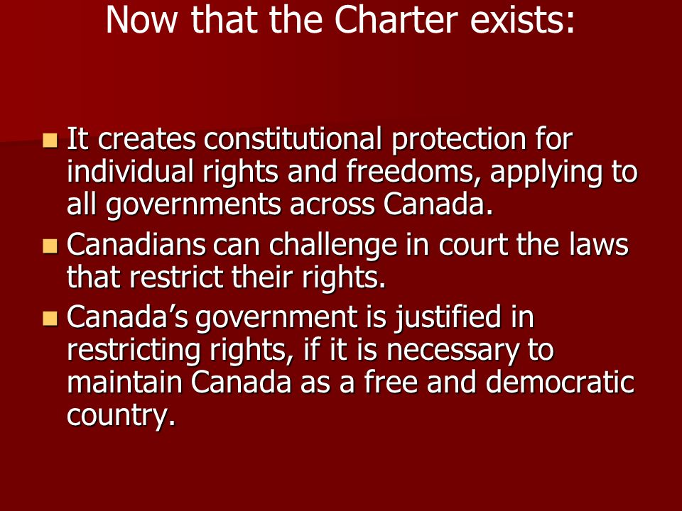 Now that the Charter exists:
