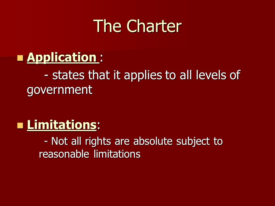 The Charter Application :