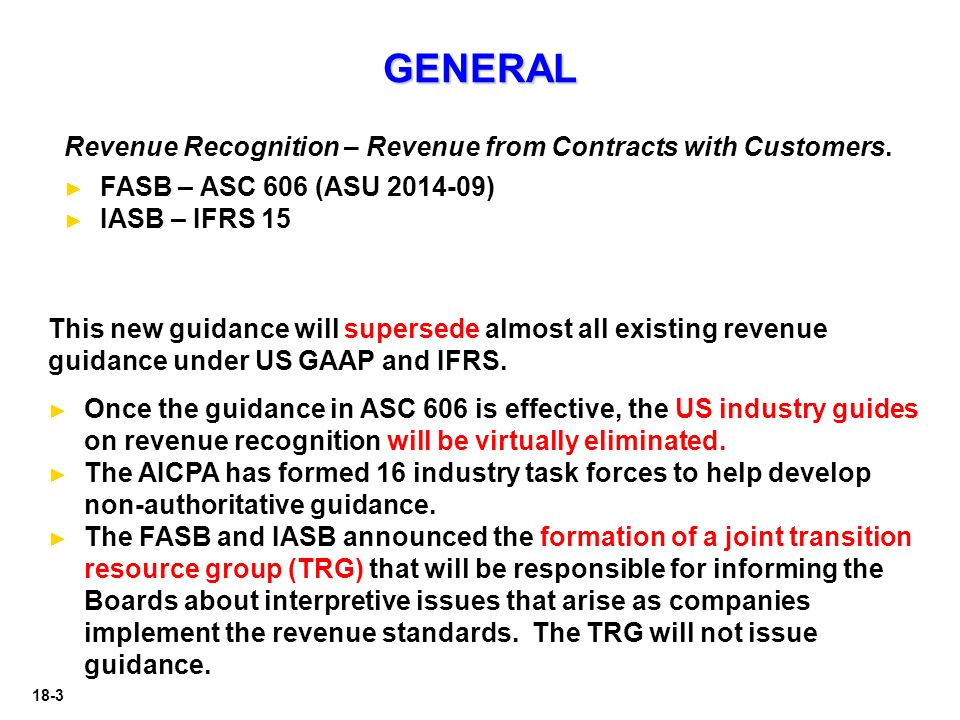 """revenue recognition on fasb and iasb What is happening at the fasb and iasb on the topic of revenue recognition recently in december 2008, in conjunction with their joint project on revenue recognition, the financial accounting standards board (fasb) and international accounting standards board (iasb) both issued discussion papers titled """"preliminary views on revenue."""