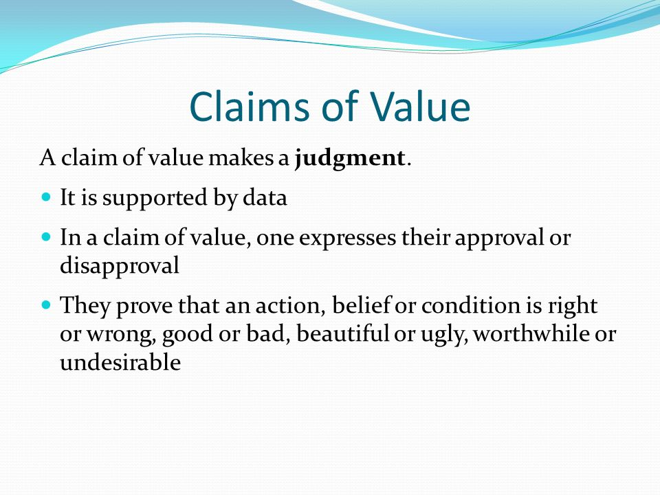 claim of value essay topics Essays - largest database of quality sample essays and research papers on claim of value.