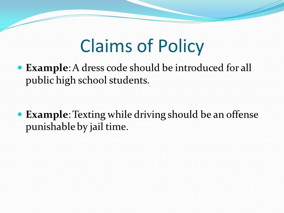 Claim of policy