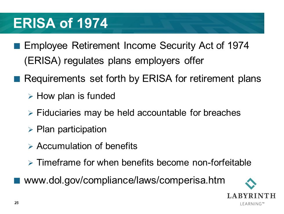 employee retirement income security act as a help and protection to employees Employee benefits from a highly rated, time-tested, client-owned company your employees deserve it  this is for longer-term protection and income replacement when an employee may be not be able to return to work for an extended period  this program is not intended to be subject to the employee retirement income security act of 1974.