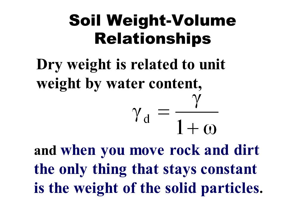 Soil and rock soil and rock are the principle components for Soil unit weight