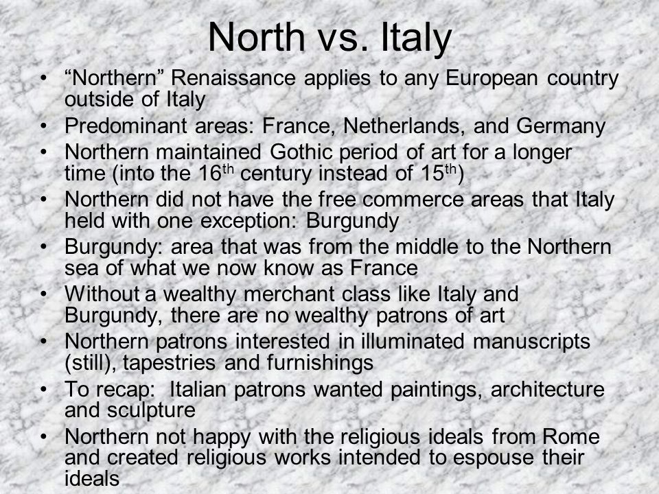 difference between northern renaissance southern renaissance The italian renaissance is typically characterized as secular and individualistic, while the northern renaissance is seen as more christian and socially-oriented.