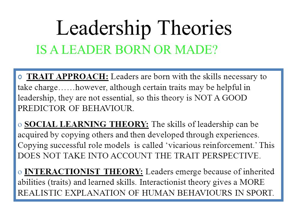 is leadership an inherited trait or a developed skill Behaving intelligently: leadership traits & characteristics  the individual differences framework was developed to illustrate indi-  for leadership skills .