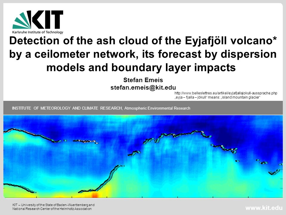 Detection of the ash cloud of the Eyjafjöll volcano