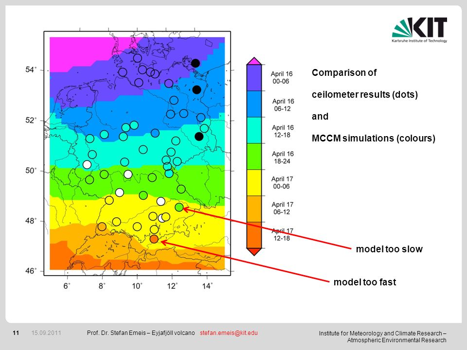 ceilometer results (dots) and MCCM simulations (colours)