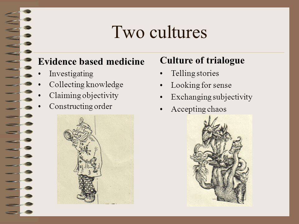 Two cultures Culture of trialogue Evidence based medicine