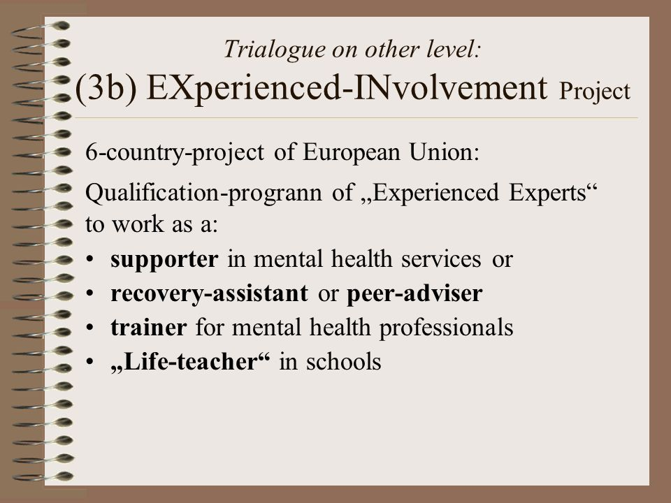 Trialogue on other level: (3b) EXperienced-INvolvement Project