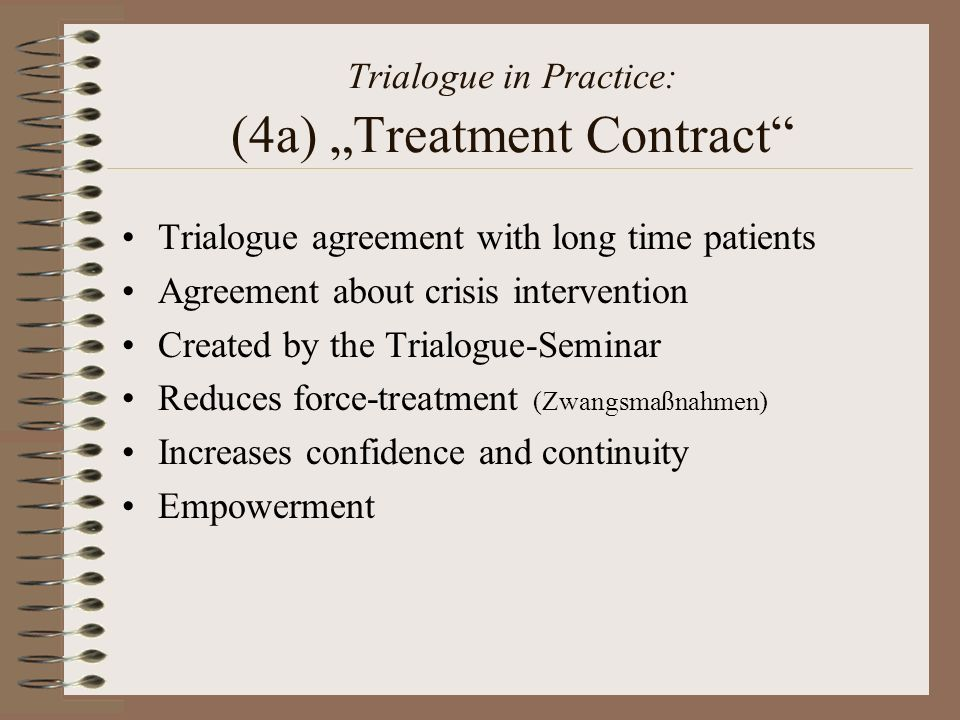 """Trialogue in Practice: (4a) """"Treatment Contract"""