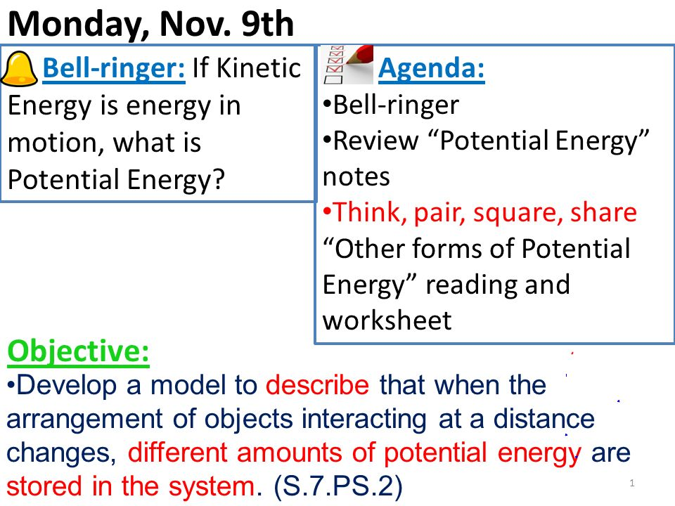 Monday, Nov. 9th Objective: