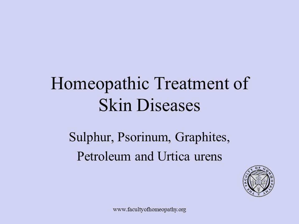 Homeopathic Treatment of Skin Diseases
