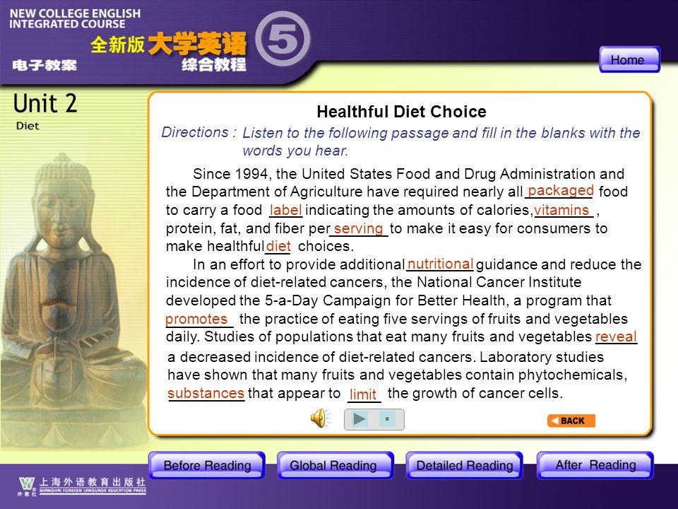 BR1- Healthful Diet Choice
