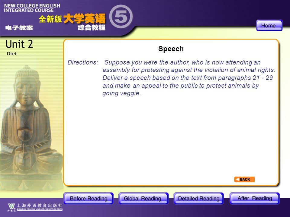 GR- Speech Speech Directions:
